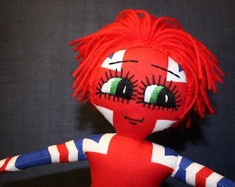 Handmade Rag Doll / OOAK / Cloth Doll / Ditsy Prints / Quirky / Union Jack / British Flag