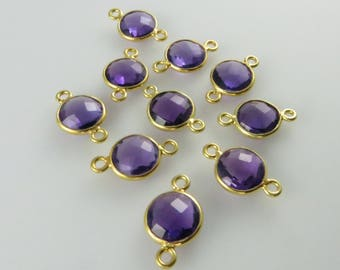 15mm Amethyst Bezel Gemstone Connector, Round, Faceted, Gold-Filled - Ten (10) Pieces