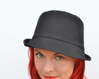 Black sun hat, foldable hat, travel hat, brimmed summer hat, fedora, black cotton sunhat, cotton hat, summer fashion, beach wear