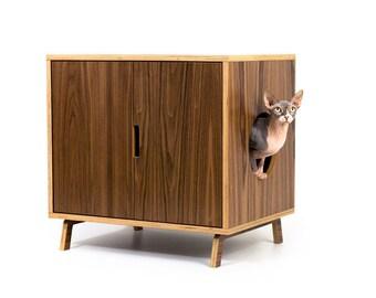 "Mid Century Modern Cat Litter Box Furniture   LARGE Cat Litter Box Cover   Dog & Cat House   Walnut Side Table   ""Standard Cabinet"""