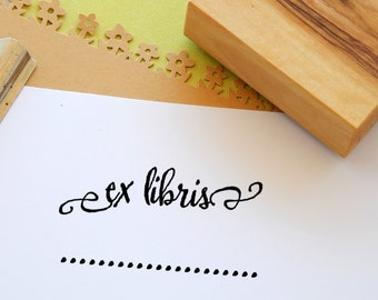 Add Your Name Non-Custom Ex-Libris Stamp mounted on Olive Wood