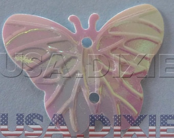 Lot 25 iridescent sequins pink butterfly sewing or craft