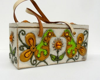 Enid Collins Box Bag, 1960s Paper Mache Purse, White Gold Green Jeweled Purse, Flowers and Birds, Vintage Collectible Box Bag