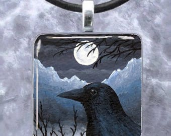 Pendant 1x1, Square, Tray, Jewelry Necklace Earrings Bird 58 crow raven art painting by L.Dumas