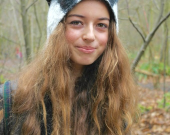 Wind in the Willows Badger Hat with black & white stripes woodland animal fancy dress cosplay larp costume pure wool hand felted headwear
