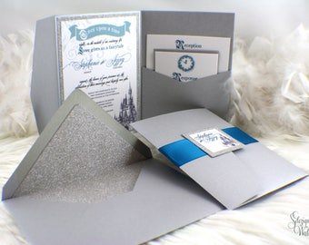 Fairy tale Wedding Invitation | Cinderella invitation | Fairytale invitation | Glitter invitation | Once upon a time wedding invitation