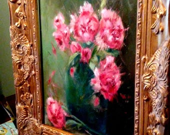 Original Peonies Painting - Framed