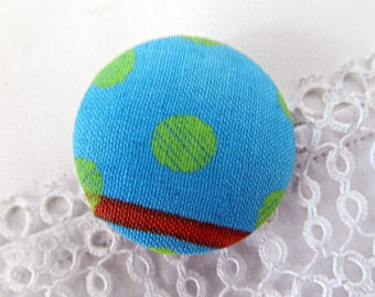 Fabric button turquoise with polka dots, 32 mm / 1.25 in