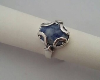 Sodalite in Sterling Silver Ring - Size 6 1/2