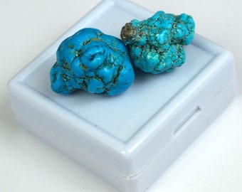 62.25 Ct. Natural Arizona Mine Kingman Turquoise Gemstone Rough Pair Best Offer