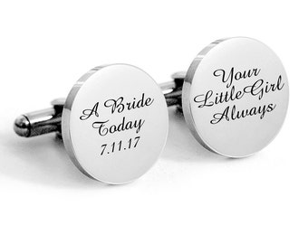 Father of the Bride Cufflinks, Custom Wedding Cufflinks, Fathers Day, Gift for Dad