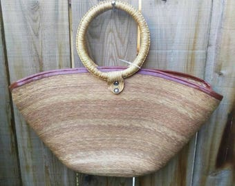 Reduced* Super unique, rotating circle handles, woven rattan tote bag.