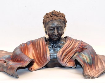 Modern Figurative Sculpture of a Black Buddha Bust in Raku Ceramics with Copper Blue Patina