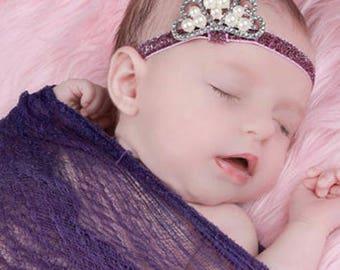 Baby Crown Headband, Gold / Silver tiara headband, Newborn Headband, Gold or Silver Baby Crown, Rhinestone Crown, Newborn photo prop