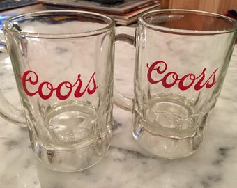 Two Coors Glass Mugs