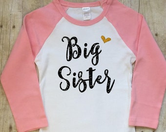 Big Sister Shirt-Big Sister Announcement Shirt-Pregnancy Reveal Shirt-New Baby Shirt-Big Sister Pink Raglan-Black Glitter Gold Glitter