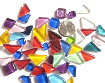 Colorful Glass Tiles, Glass Mosaic Pieces, Triangular Mosaic Tiles, Triangular Tiles, Triangle Tiles, Triangle Mosaic Tiles  50/100 Tiles