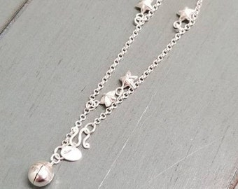Sterling Silver Star Charm Bell Bracelet / Charm Bracelet / Jingle Bell Charm / Star Charm / Charm Jewelry