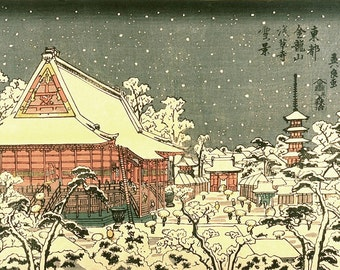 Japanese vintage art, Town in the Snow, FINE ART PRINT, japanese art prints, japanese posters, asian wall art, home decor, wall paintings