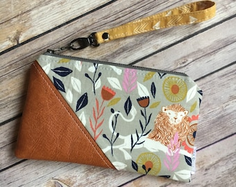 Date Night Clutch, Lion Fabric, Cotton and Steel, Small Wristlet, Zipper Pouch, Vegan Leather and Fabric Wristlet, Small Handbag
