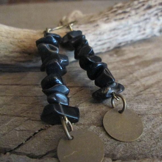 Black Stone Beaded Earrings, Stone Earrings, Stacked Stone Earrings, Black Earrings, Earrings