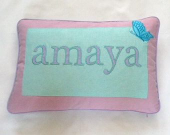 baby name pillow cover - aqua blue, purple and pink -baby nursery decor