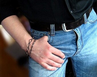 Mens bracelet oxidized sterling silver bracelet for men - men jewelry steampunk jewelry sexy men fashion unisex black male bracelet - Ares
