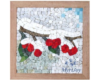 Mosaic craft kit for adults: Winter - Mosaic art ideas - Do it yourself project - DIY kit Italian marble & Murano glass mosaic tiles
