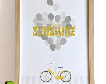Hello Sunshine Typography Bicycle Print retro modern neutral nursery wall art print . children decor