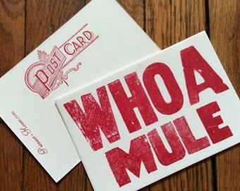 WHOA MULE 6 hand printed letterpress mini prints post cards