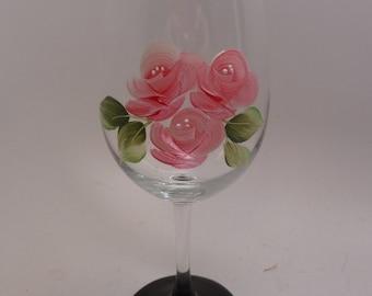 Hand Painted Pink Rosebud wine glass