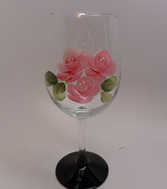 Hand Painted Pink Rosebud wine glass