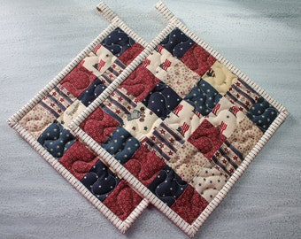 4th of July Potholders, Quilted Patchwork Potholders, Country Potholders, Farmhouse Potholders, Potholders set of 2