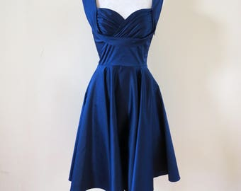 1950's Inspired Dress - Navy Honey Dress - Candice Gwinn Trashy Diva Dress - Swing Dress - Pinup Dress