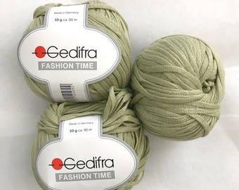 NEW Green Gedifra Yarn Lot/3,Ribbon Yarn, 50 g. 98 yds EA,Fashion Time Aran Cotton, Flat Yarn, Discontinued , Wide Yarn,Made in Germany