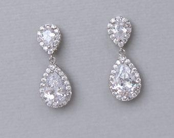 Bridal Earrings, Wedding Earrings, Crystal Bridal Teardrop Earrings,  Bridal Jewelry, Bridesmaid Earrings, TAMARA S