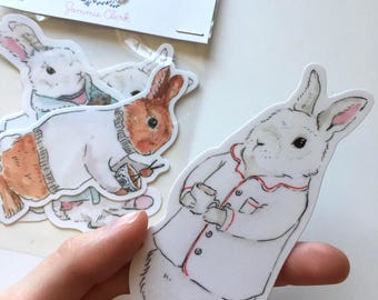 Bunny Stickers, animal stickers, kawaii stickers, back to school stickers, bunny phone case, cute stickers