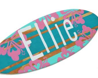 Personalized Surfboard Wall Art, Surf Nursery Decor, 18 inch Surf Board Sign, Beach Decor, Surf Board with Name Sign, Custom Beach Sign