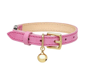 Pink Leather Cat Collar with Breakaway Buckle