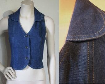 """Sassy early 1970s denim vest / waistcoat bust 32""""-33"""" NOS unworn, great top!"""