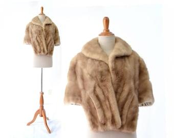 Mink Stole,  Vintage mink, Fur Cape, Mink Shrug, Mink Cape,  Autumn Haze, small Mink, pastel mink, 1950s shrug 50s