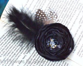 Black Feather hair clip Hair accessory Black wedding accessory Black hair clip Black hair flower Black headpiece Black fascinator