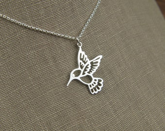 Large hummingbird charm necklace in sterling silver, sterling silver hummingbird, silver bird charm, hummingbird necklace