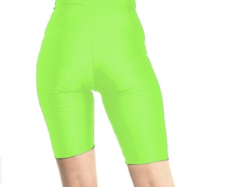 High waisted spandex shorts neon green