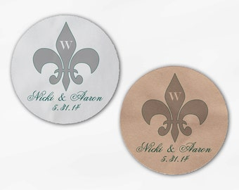 Fleur de Lis Wedding Favor Stickers - Custom Candy Buffet White Or Kraft Round Labels for Bag Seals, Envelopes, Mason Jars (2020)