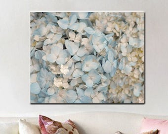 Hydrangea canvas wall art, pale blue wall art pastel floral canvas gallery wrap oversized artwork, shabby chic cottage canvas art, ivory tan