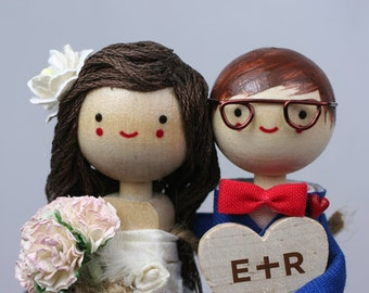 Custom Wedding Cake Topper with 1x 3-d HAIR, 1x Custom CLOTHING and HEART
