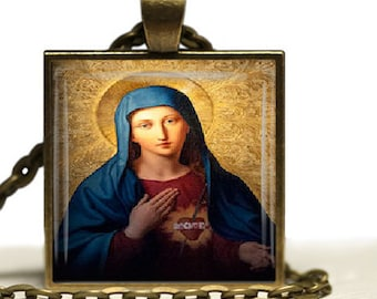 Immaculate Heart of Virgin Mary Religious Catholic Pendant