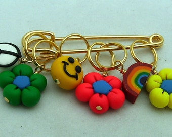 Stitch Markers FEELING GROOVY  for Knit or Crochet set of 6 Peace neon rainbow