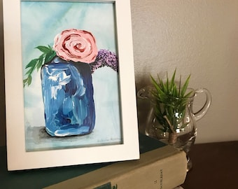 Ball Jar Flower Bouquet - 4x6 Acrylic Painting - FREE SHIPPING